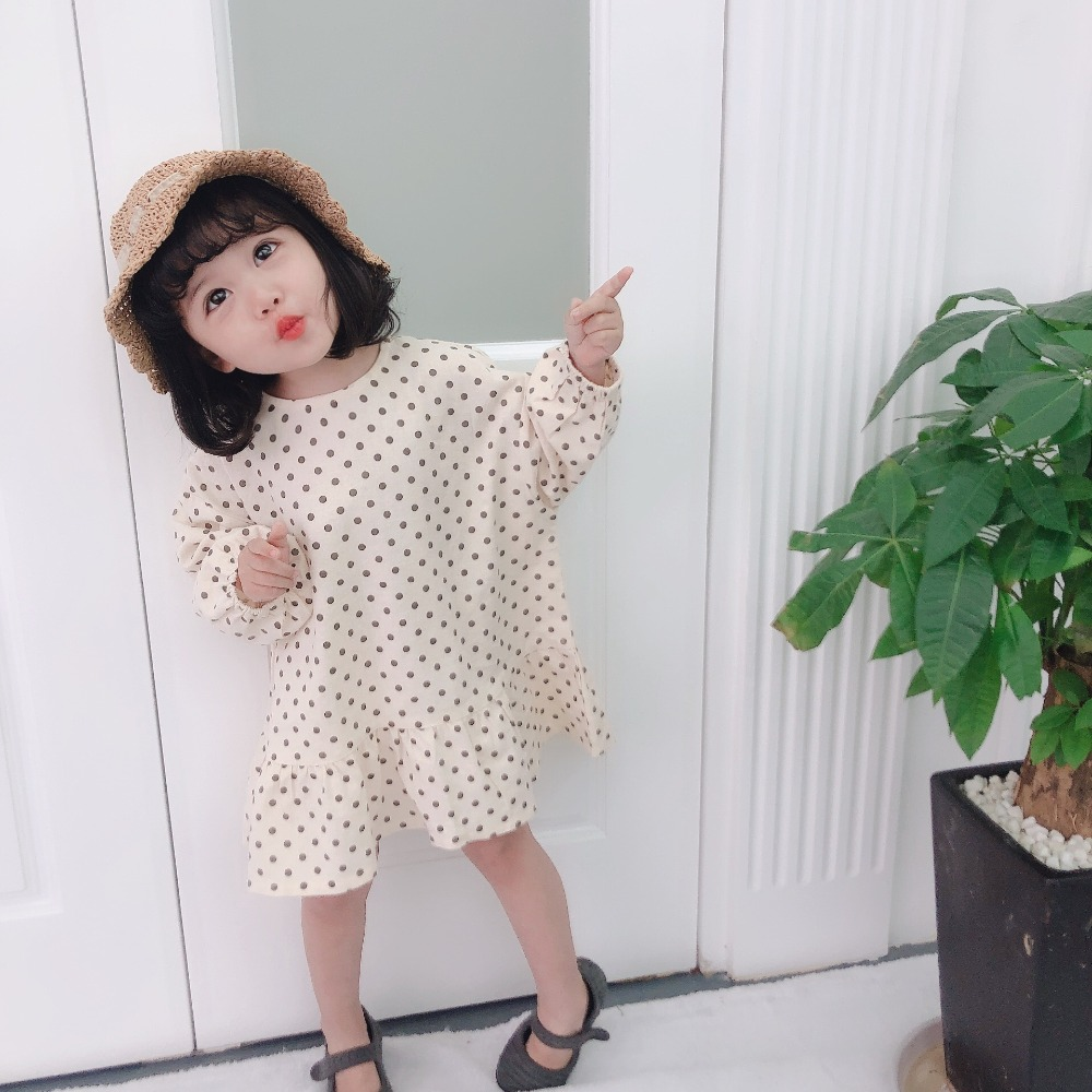 2019 Spring Girls Dots Dress Full Sleeve Fashion Kids Clothes Baby Girls Dresses 1-7 Years