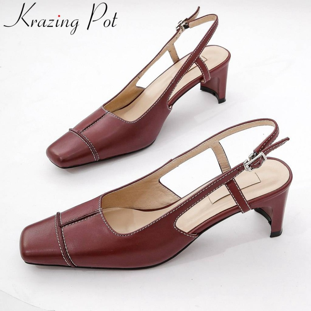 Summer slingback full grain leather vintage square toe sandals buckle strap med heels woman brand wedding