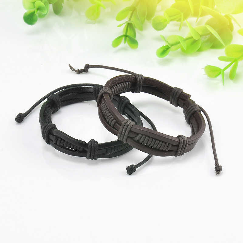 Fashion Men Charm Bangle Handmade Vintage Black Brown Punk Braided Genuine Leather Bracelet