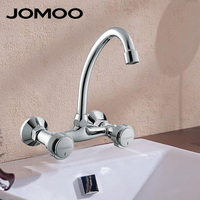 JOMOO Brand Wall Mounted Double Handle Bibcock Double Hole Kitchen Faucet Chrome Finish Sink Faucet Tap