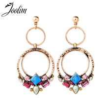 JOOLIM 7 Mix Styles Antique Gold Tone Blue Stone Flower Piercing Earring Summer For Women 2018