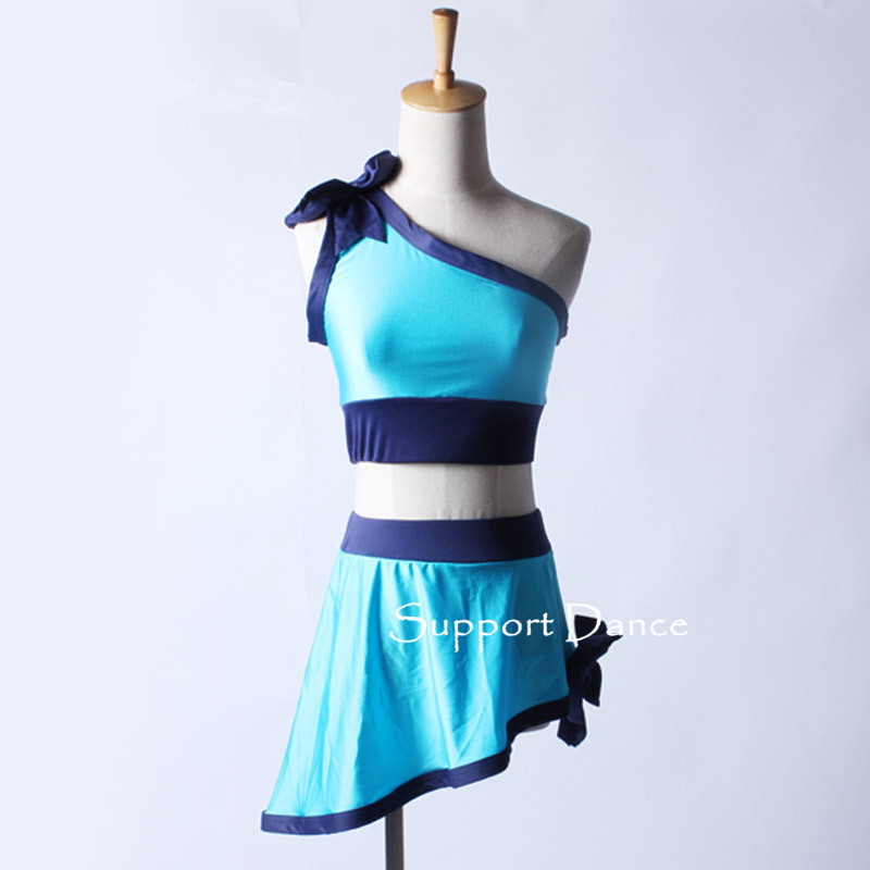 2 Piece Latin Dance Dress For Kids Adult One Shoulder Neckline Bows Contemporary Costume C180