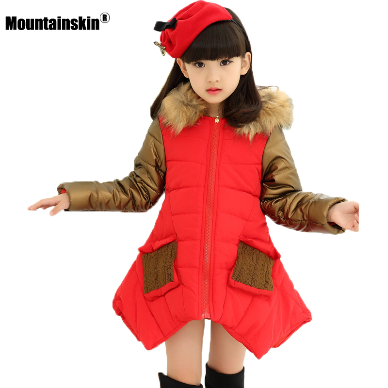Mountainskin 2017 Winter Autumn Girls Jacket Warm Thick Hooded Coats Children Clothing Kids Thermal Outwear Outdoor 4-15T SC886 mountainskin 2017 winter autumn spring baby boys girl sweater kids rompers children suit cardigan thick warm outwear 0 24m sc895