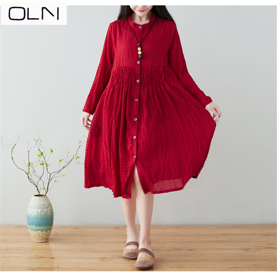 Spring and summer Europe the United States new loose large size M-3XL womens national wind was thin waist long sleeve dress