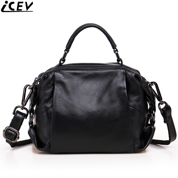 ICEV 2018 new fashion boston clutch 100% genuine leather ladies messenger bag designer cowhide bags handbags women famous brands 2018 new designer retro genuine leather bags handbags women famous brands ladies office work bag messenger clutch bolsa feminina