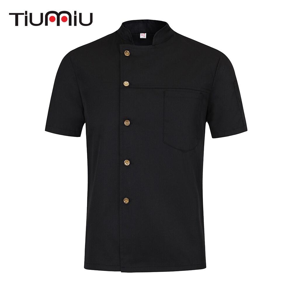 Restaurant Uniforms Shirts Solid Color Short Sleeve Chef Jacket Food Service Hotel Kitchen Work Clothes Men Women Chef Coat