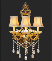 Classical Golden Brass Wall Lamp Brass Wall Sconce for Hotel With Fabric Shade Modern crystal wall lamp Lustre Home Decoration