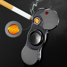 USB Tungsten Cigarette Lighter Charging Electric Windproof Creative Induction Colorful Lights Personality Fingertip Gyro
