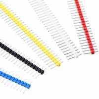 12 pièces 2.54mm pas droit bande broche en-tête 40Pin mâle simple rangée fer nickelé pour panneau de carte PCB