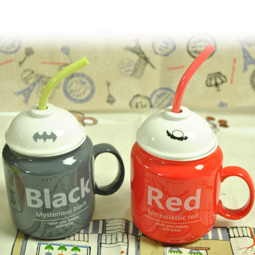 1PCS Creative Ceramic with Lid Spoon Lovely Coffee Cup Funny Straw Ceramic Cup Travel Kids Gift 4 Colors Drop Shipping