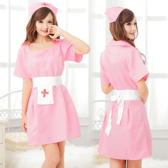 Sexy Lingerie sexy cosplay nurse uniform Pink Baby Doll Lace lenceria Pajamas set nuisette sexy nurse porno