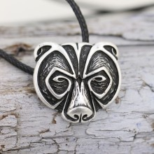 LANGHONG 1pcs Norse Viking Bear Amulet Necklace Legendary Viking Bear Head Amulet Pendant Necklace Talisman Jewelry