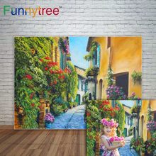 Funnytree primavera backdrops photograpy flores de rua pintura casa fundo ao ar livre photocall para fotografia fotophone