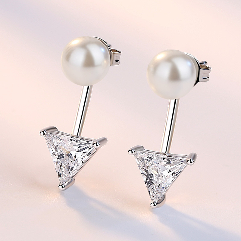 100 925 sterling silver fashion imitation pearl shiny crystal ladies stud earrings women jewelry female birthday gift cheap in Stud Earrings from Jewelry Accessories