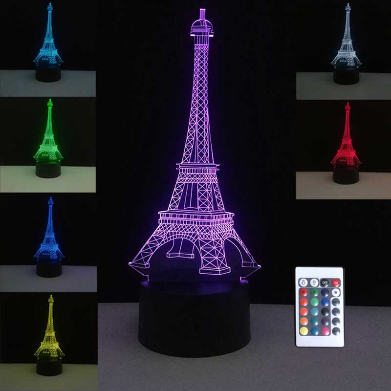 3D Colorful Table Lamps USB LED Lamp France Paris Eiffel Tower Mood Night Lights Bedroom Wedding Decoration Home Holiday Decor