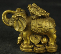 Copper Brass crafts Asian Beautiful Elephant Frog Chinese Wealth Elephants and Toad Sculpture statue crafts home hanging