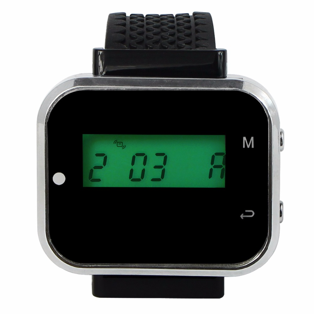 433.92MHz Wireless Calling Paging System Watch Wrist Receiver Call Pager for Restaurant Bank Equipment F3300A 4 watch pager receiver 20 call button 433mhz wireless calling paging system guest call pager restaurant equipment f3258