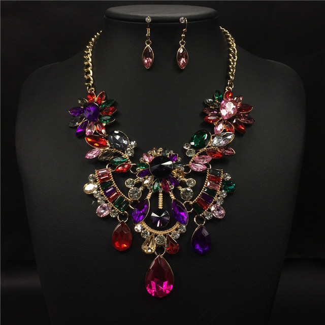 Luxury  flower necklace Europe exaggerated vintage collar choker crystal gem high quality statement necklace Accessories  0738