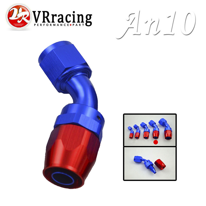 VR RACING - 10 AN AN-10 45 Degree Aluminum Swivel Hose End Fitting Adapter Oil Fuel Line VR-SL1045-10-311