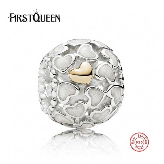 FirstQueen Real 100% 925 Grânulos de Prata Esterlina, Prata Esterlina, Coração Lock & Chave Charme encaixa Original Brace fits Pulseira Original