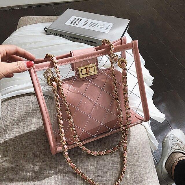 ETAILL 2019 Clear PVC Jelly Women Transparent Bucket Bag 2019 Design Luxury Composite Female Chain Crossbody Messenger Bags