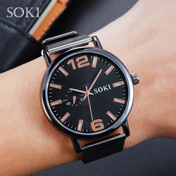 SOKI Quartz Watch Retro Unisex Fashion Concise Mesh Strap Multicolor Black Rose Gold Round Mesh Leisure Watch Relogio Feminino