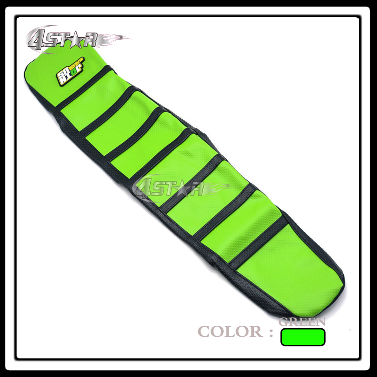 Green And Black Rubber Ribbed strip-type Motorcycle Gripper Soft Seat Cover Moto Parts For KAWASAKI KX125 KX250 2003-2009