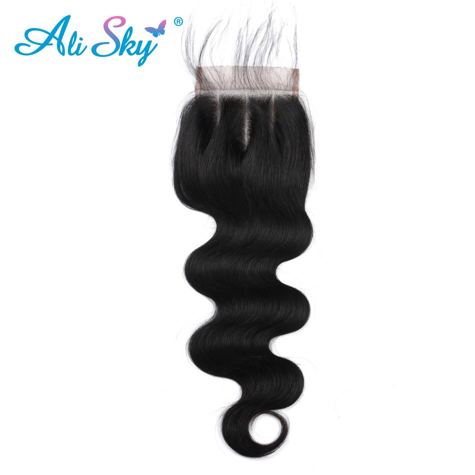 ali Sky Qualified Hair Brazilian Body Wave Hair Lace Closure Pre Plucked With Baby Hair 4*4 Middle/free/three Part Top Closure Non Remy Lovely Luster