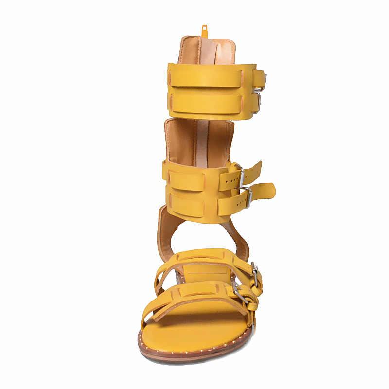 Gladyatör Tasarım Kadın Sandalet Sarı Gerçek Deri Flats Yaz Çizmeler Roma Moda Sandalias Bayan Ayakkabıları Chaussure Femme Ayakkabı