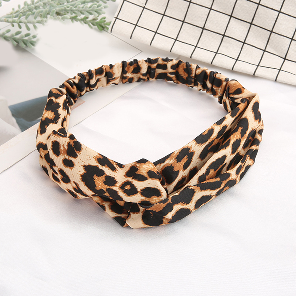 Leopard Printed Cross Knotted Headband Turban Women Girls Elegant Stretchy Hair Bands Twisted Knotted Hair Accessories Headwear