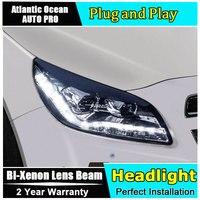 car styling For Chevrolet Malibu headlights 2012 2013 2014 For Malibu Bi xenon led head lamps Double lens HID KIT led drl