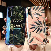tropical leaves tpu case for xiaomi redmi note 7 mi A2 8 9 se 6x case cover fashion blue ray patterned soft silicone phone bag tropical leaves tote bag