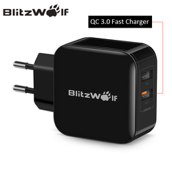 BlitzWolf QC3.0+2.4A 30W Dual USB Charger Mobile Phone Fast Charger EU Adapter Travel Wall Charger For iphone 8 8 Plus X