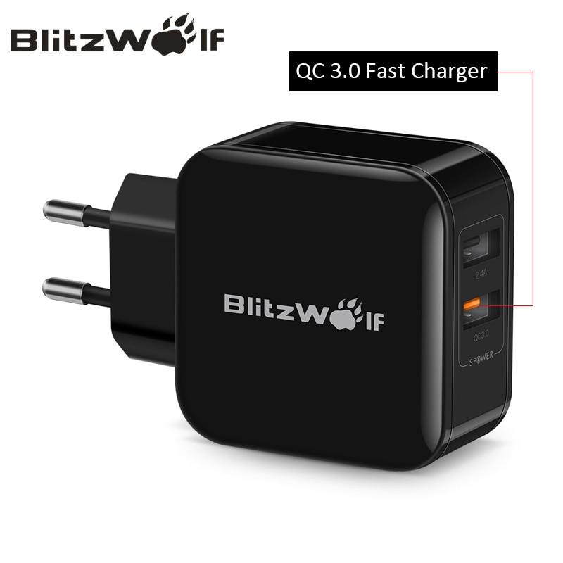 BlitzWolf QC3.0 + 2.4A 30 watt Dual USB Ladegerät Handy Schnelle Ladegerät EU Adapter Reise Wand Ladegerät Für iphone 8 8 Plus X