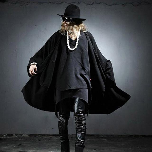 Los hombres más el tamaño capa de la rebeca floja de la calle moda punk rock estilo chaqueta de bateo manga otoño casual tops outwear, Q63