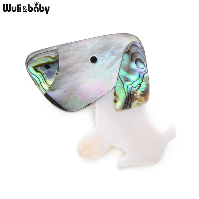 Wuli&Baby Natural Shell Big Nose Dog Brooches For Women And Men Fashion Cute Dog Animal Banquet Weddings Brooches Gifts
