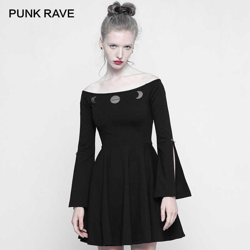 bc005927576 PUNK RAVE New Gothic Women s Black Off-shoulders Long Slit Flared Sleeves  Bardot Mini Dress