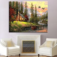 Frameless Countryside House Landscape Oil Painting By Numbers DIY Kits Drawing On Canvas Wall Artwork For Living Room Or Bedroom