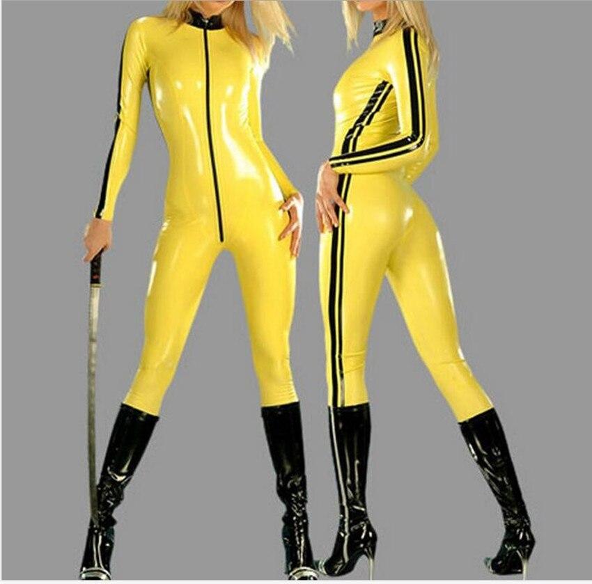 Grande taille S-6XL jaune Sexy femmes costume Spandex femmes en cuir Latex PU combinaison body Costumes pour femmes 7204