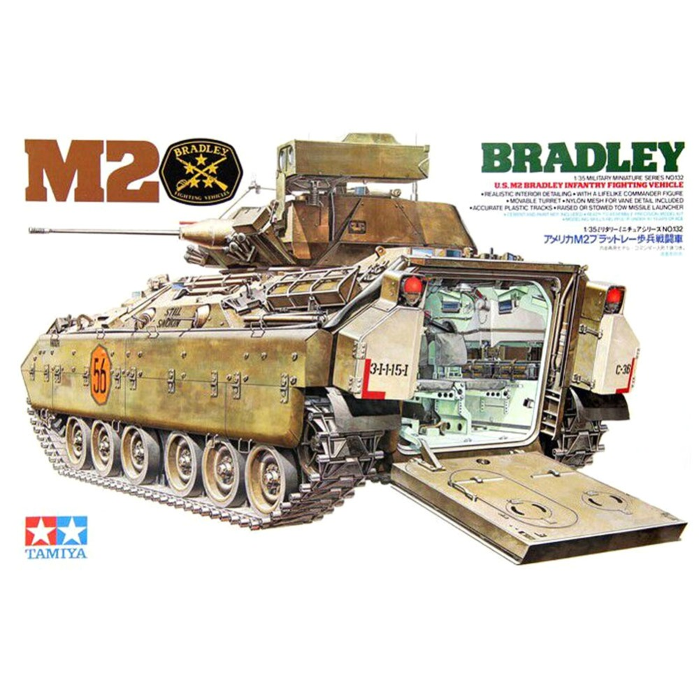 Tamiya 35132 1/35 M2 Bradley Infantry Fighting Vehicle Military Assembly AFV Model Building KitsTamiya 35132 1/35 M2 Bradley Infantry Fighting Vehicle Military Assembly AFV Model Building Kits