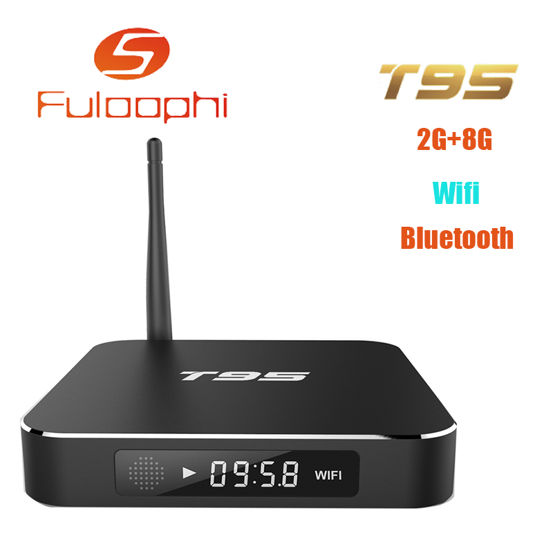 Fuloophi T95 S905 Quad Core TV BOX Metal Case Amlogic Andorid TV BOX 2GB 8GB 2.4GHz WiFi Bluetooth Full Loaded ADD ONS t95 metal case amlogic s905 quad core andorid 5 1 tv box 2gb 8gb 2 4g 5ghz dual wifi kodi 16 0 add ons pre installed