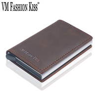 VM FASHION KISS Crazy Horse Genuine Leather RFID Security Aluminum Box Wallet Utomatic Business Credit ID Card Holder Wallets