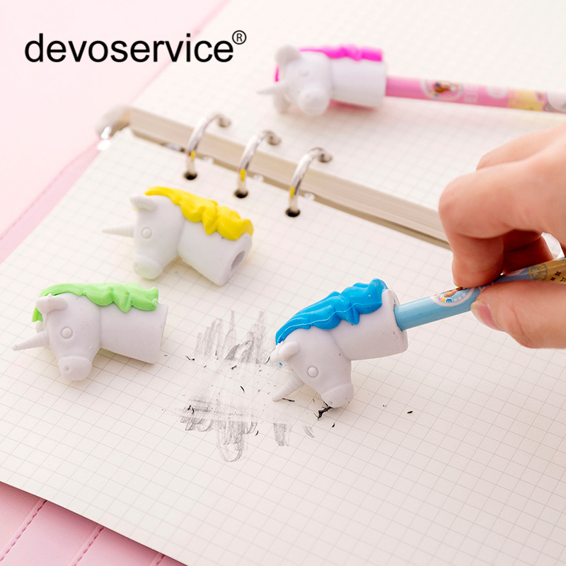 Cute Cartoon Unicorn Pencil Eraser Multi-function Rubber Pen Cap Kawaii Stationery Student School Office Supplies Kids Prize Toy