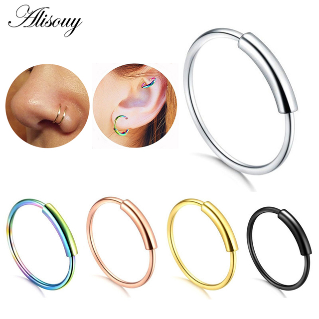 Alisouy Hinged Clicker Seamless Piercing Nose Ring Hoop Lip Ear Ring Body Jewelry