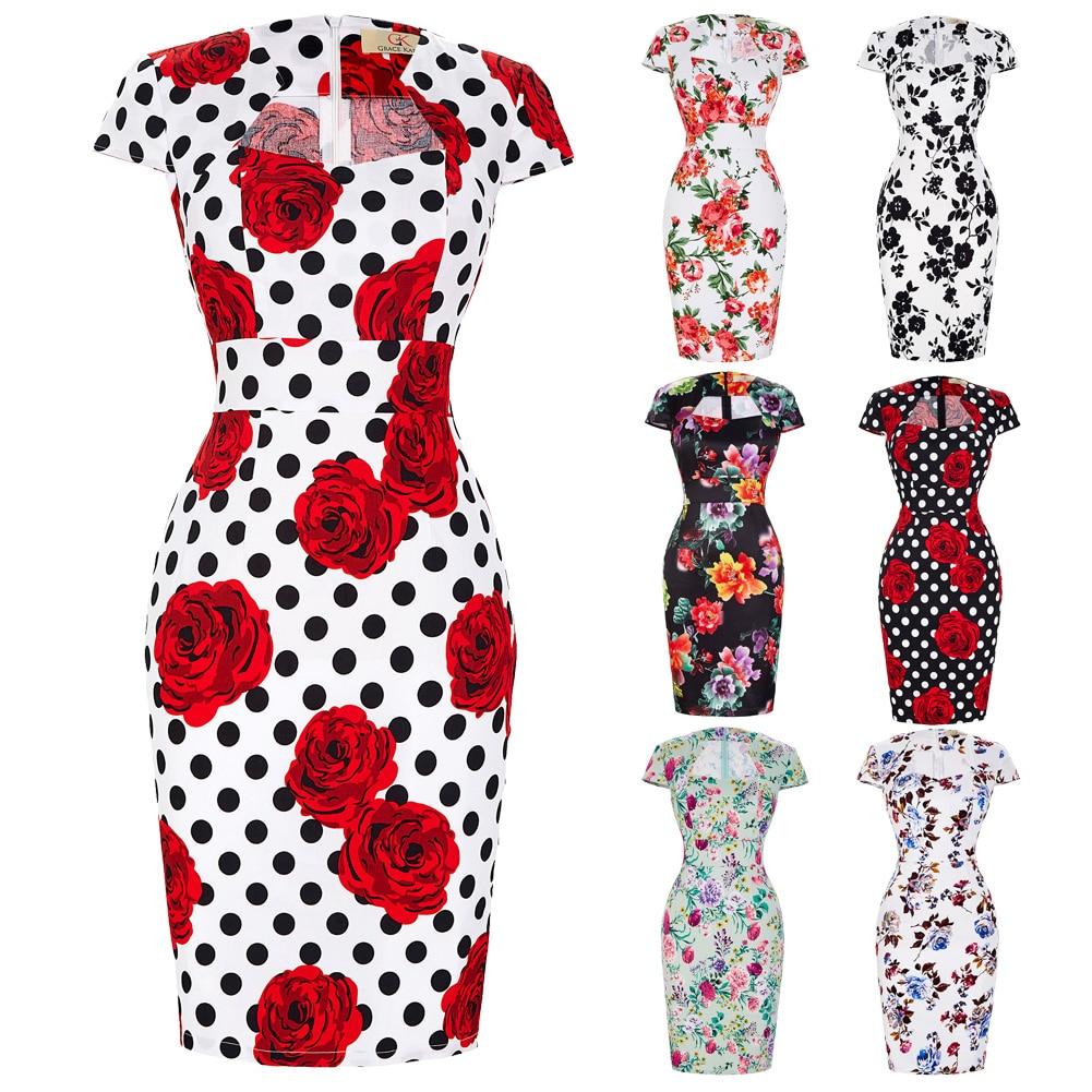 Сексуальное тонкое женское летнее платье, облегающее платье-карандаш из хлопка размера плюс 3XL, винтажное платье 50 s, платье для офиса, платье для работы