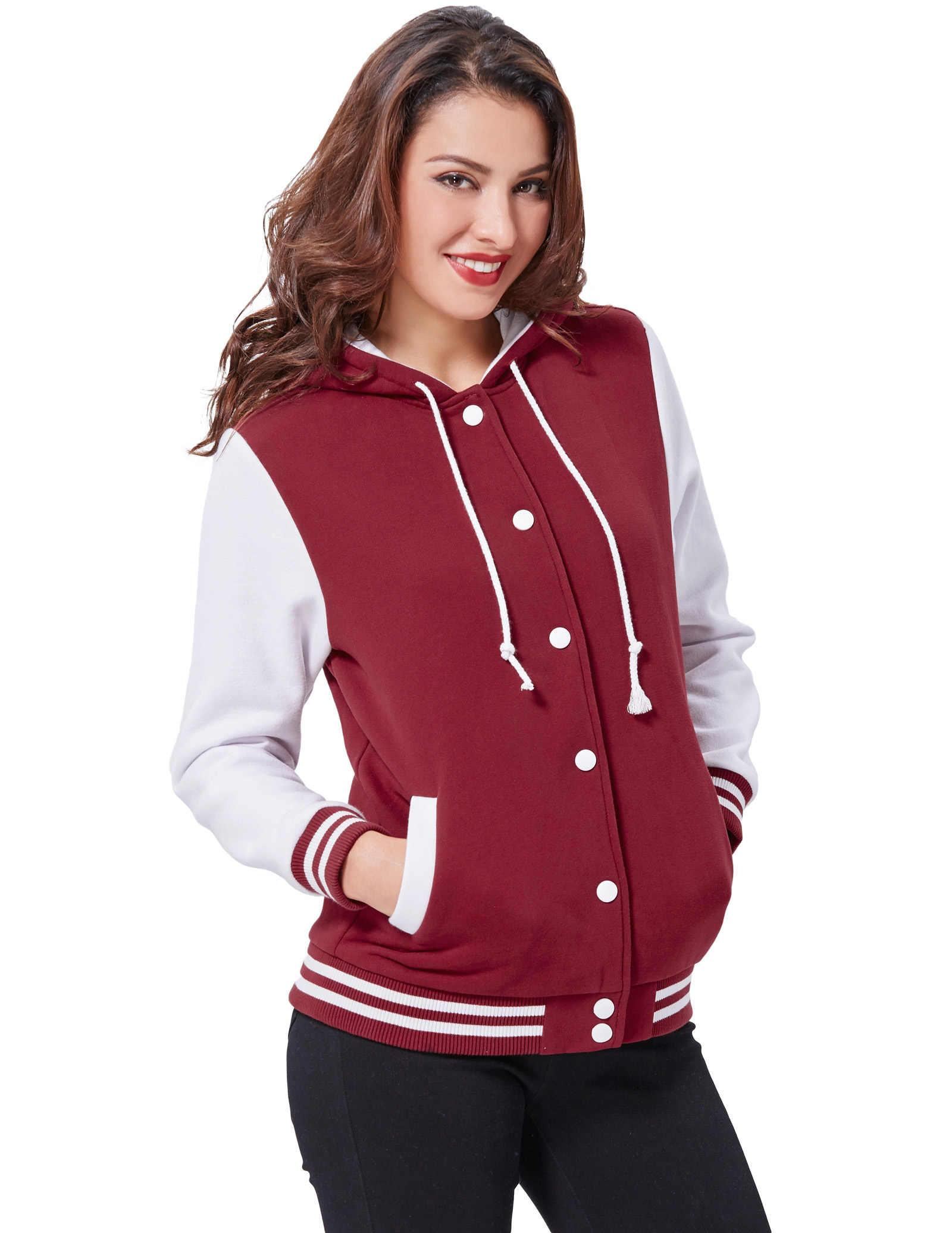 c704f67ef0be Новый Для женщин Тонкий с капюшоном Бейсбол пальто школы Куртка Varsity  Спортивные ...