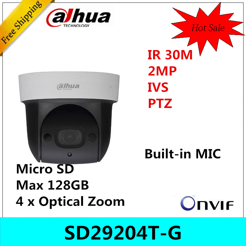Dahua DH-SD29204T-GN 2Mp Network Mini IP Speed Dome 4x optical zoom PTZ ip camera built-in MIC SD29204T-GN English version dahua sd29204t gn w 2mp mini ir ptz wifi ip speed dome new version english firmware wdr day night 2 7mm 11mm focal length