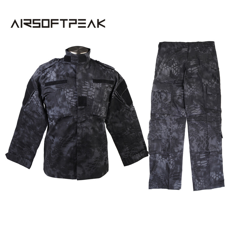 Men's BDU Combat Tactical Uniform Zipper Long Sleeve Typhon Field Shirt Jacket Pant Hunting Airsoft Military Ghillie Suit men combat field shirt long cargo pant hunting airsoft ghillie suit camouflage clothes military bdu tactical uniform set