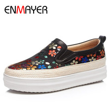 ENMAYER Mixed Colros Shoes Woman Flat Platform Genuine Leather Casual Size 34-40 Shallow Flats Womens