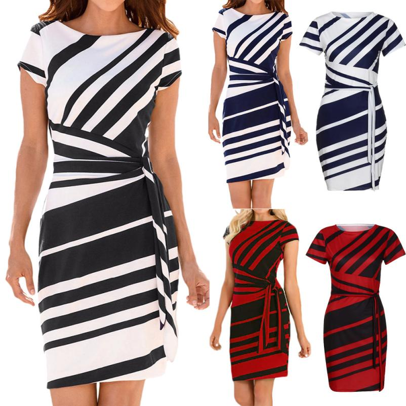 KANCOOLD dress Summer fashion Women's Working Pencil Stripe Party Casual O-Neck Mini high quality dress women 2018MA27